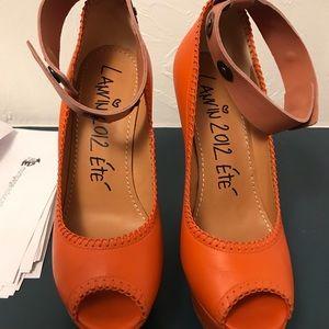 2012 Lanvin Orange Peep Toe Wedge